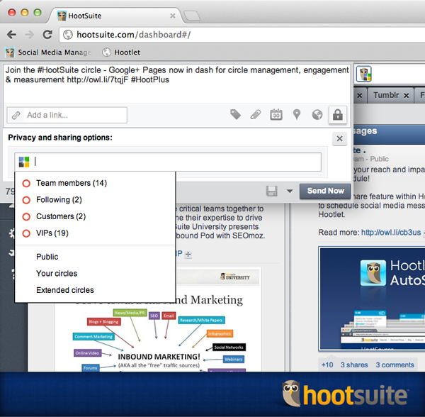 Google plus with HootSuite