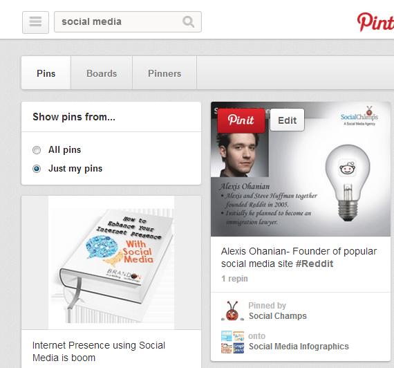 Pinterest search pins