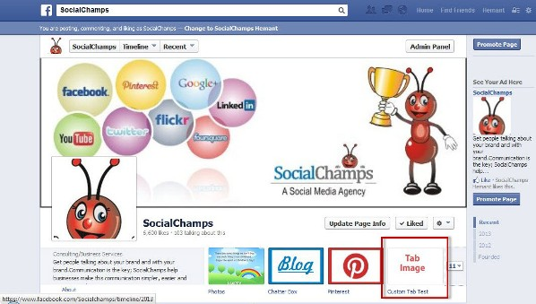 Facebook Custom Tab on SocialChamps