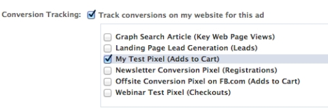 facebook power editor select conversion tracking